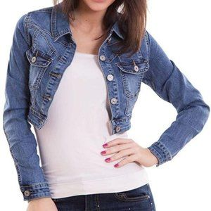 Hot Kiss crop jean jacket size Small